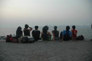 Gang Nritarutya watching sunset after the performance
