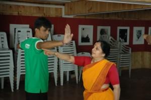 Being taught Bharatnatyam by Minal Akka