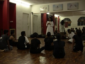 Madhuri addressing the Neo Wing on their Orientation Day