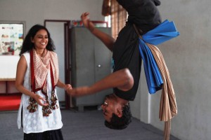 Madhuri and Vishwa share a light moment